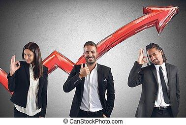 finanziell, gewinne, von, businessperson