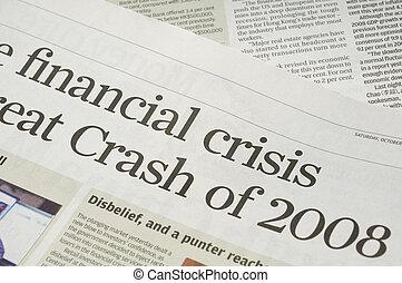 finanziell, krise, schlagzeilen