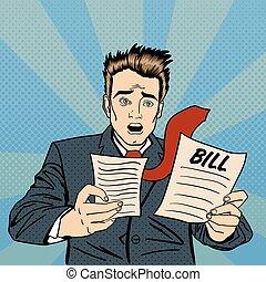 finanziell, prüfung, schockiert, bills., vektor, abbildung, knall, geschäftsmann, documents., annahme, frustriert, man., art.