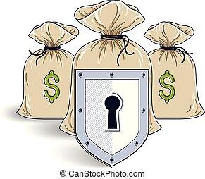 finanziell, schutzschirm, säcke, kredite, begriff, geld, aus, sicher, spareinlagen, geschaeftswelt, bankwesen, idee, vektor, deponieren, schutz, investitionen, versicherung, design.