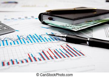 finanziell, tabellen, und, schaubilder