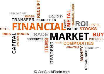 finanziell, wolke, -, markt, wort