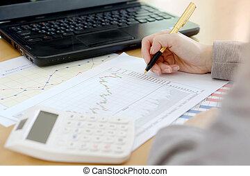 finanzielle analyse, schaubilder, buchhaltung, markt, bestand