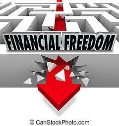 finanzielle freiheit, probleme, durchbrechen, banknoten, ...