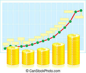 finanzielle grafische darstellung, mit, geldmünzen