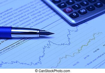 finanzielles diagramm, mit, kugelschreiber, taschenrechner