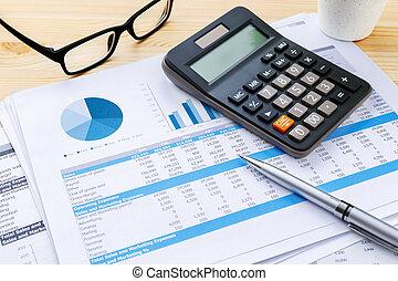 finanzielles diagramm, mit, rechner feder