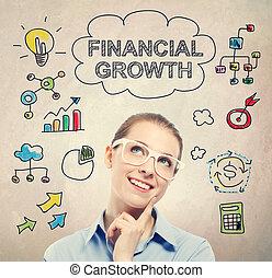 finanzielles wachstum, begriff, mit, junger, unternehmerin