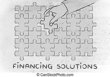 finanzierung, metapher, fehlend, vervollständigen, hand, stück, lösungen, puzzel