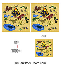 Find 10 differences. Search spots in dinosaur's park....