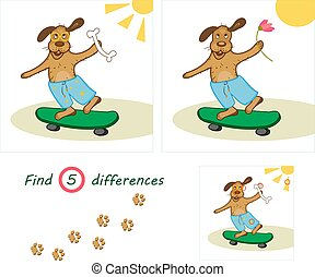 Find 5 differences education game for children, funny dog ??with a bone on a skateboard