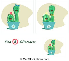 Find 5 differences education game for children, small cacti in a flower pot