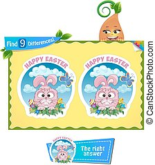find 9 differences Easter game