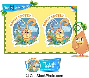 find 9 differences Easter