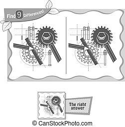 find 9 differences game architect black - visual game for...