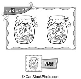visual game for children and adults. Task to find 9 differences in the illustration. black and white vector illustration