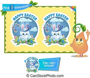 find 9 differences game Easter