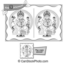 visual game for children, coloring book. Task to find 9 differences in the illustration. black and white vector illustration