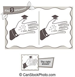 find 9 differences game hand of a student - visual game for...
