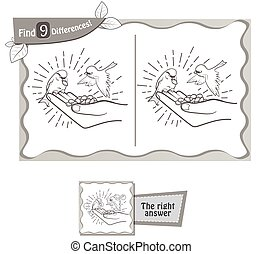 find 9 differences game kindness - visual game for children...