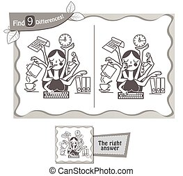 find 9 differences game secretary - visual game for...