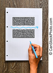 Find a better solution or shortcut concept with maze and shape