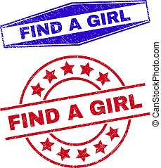 FIND A GIRL Distress Seals in Circle and Hexagonal Shapes