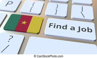 FIND A JOB text and flag of Cameroon on the buttons on the...
