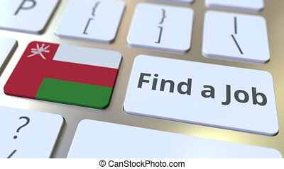 FIND A JOB text and flag of Oman on the buttons on the...