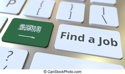 FIND A JOB text and flag of Saudi Arabia on the buttons on...