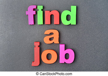 Find a job words on background