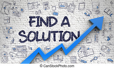 Find A Solution Drawn on Brick Wall. 3d.
