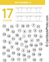 Learning numbers with kids. Number seventeen. Dot all numbers 17. Math game for children.