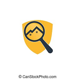 Find and Home Logo Design yellow shield vector.