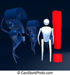3d mans with question signs and with exclamation sign.