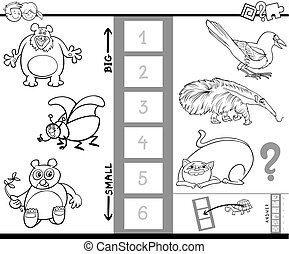 find biggest and smallest animal color book - Black and...