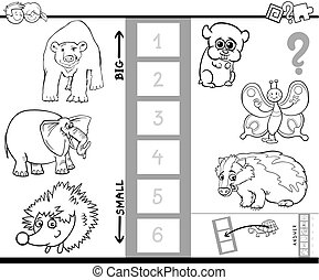 find biggest animal characters color book - Black and White...