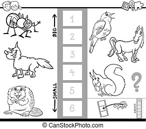 find biggest animal color book activity - Black and White...