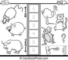 find biggest animal color book game - Black and White...