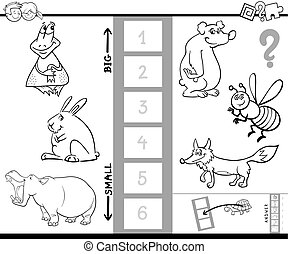 Black and White Cartoon Illustration of Educational Activity Game of Finding the Biggest and the Smallest Animal Coloring Book