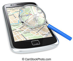 Find. - Black Smartphone with a GPS map and 3D people...