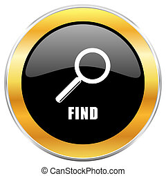 Find black web icon with golden border isolated on white background. Round glossy button.