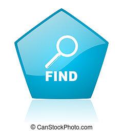find blue pentagon web glossy icon
