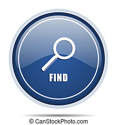 Find blue round web icon. Circle isolated internet button for webdesign and smartphone applications.