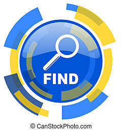 find blue yellow glossy web icon