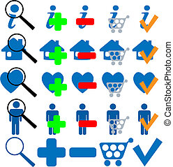 FIND BUY OK ADD MORE HOME SHOPPING FAVES Icon Set in blue. ...
