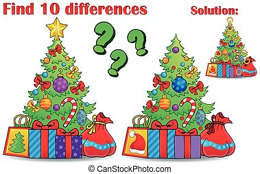 Find differences Christmas theme - eps10 vector illustration.