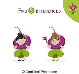 Find Differences, Educational Game for Kids Vector Illustration