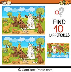 find differences educational task - Cartoon Illustration of...
