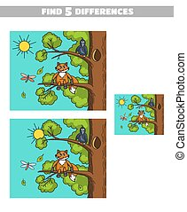 Find Differences Fox And Crow - Find 5 differences. Page of...